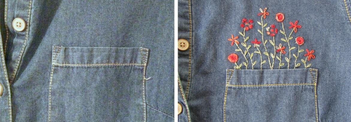 вышивка на джинсовой рубашке