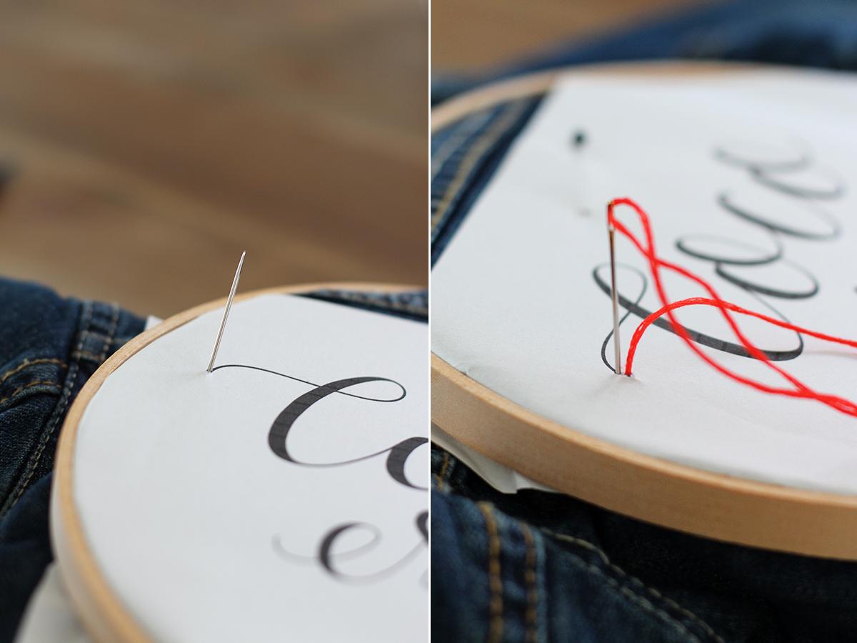 как вышить надпись на ткани