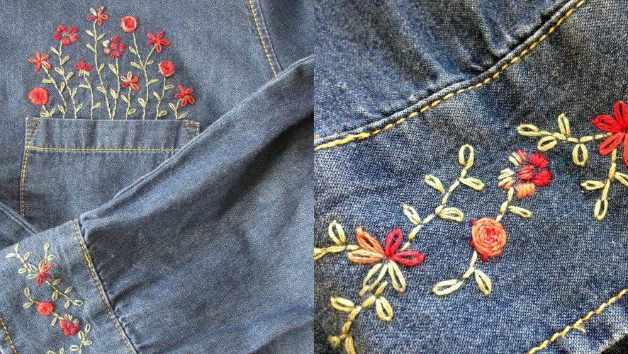 Сделать вышивку на джинсах своими руками 683