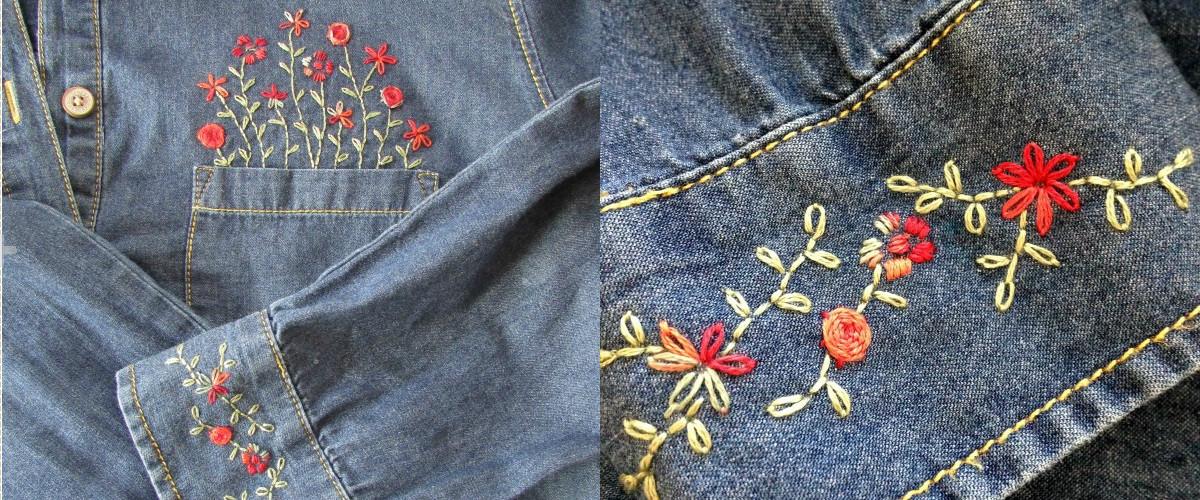 Вышиваем цветочки в кармане джинсовой рубашки