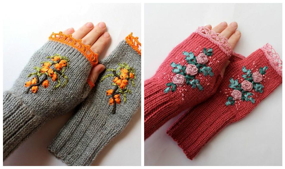 варежки перчатки митенки с вышивкой