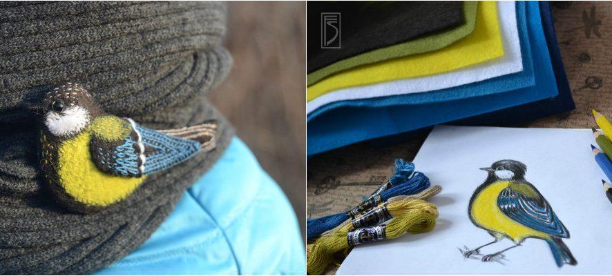 Как сделать брошь из фетра: вышитая синичка